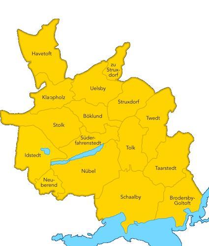 Übersichtskarte Amtsgebiet Südangeln